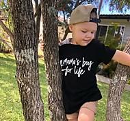 economico -Bambino Da ragazzo maglietta T-shirt Manica corta Alfabetico Con stampe Nero Cotone Bambini Top Attivo Essenziale