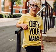 economico -Bambino Da ragazzo maglietta T-shirt Manica corta Alfabetico Con stampe Giallo Cotone Bambini Top Estate Attivo Essenziale