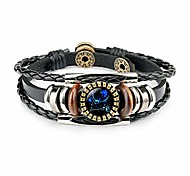 abordables -12 bracelet constellation du zodiaque, cuir tissé à la main galaxie astrologie lumineux réglable boucle pression bracelet-mode rétro (cadeau de constellation du meilleur ami)