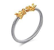 abordables -bracelet homme acier inoxydable double têtes dragon torsadé fil viking bracelet manchette réglable (or&argent)