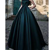 abordables -Robe de Soirée Minimaliste Rétro Vintage 18 ème Anniversaire robe ceremonie Robe Bijoux Sans Manches Longueur Sol Satin avec Plissé 2021