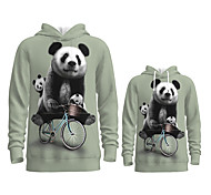 abordables -Regard de la famille Lots de Vêtements pour Famille Sweat à capuche et Sweat Panda Graphique 3D Print Animal Manches Longues Imprimé Gris Actif