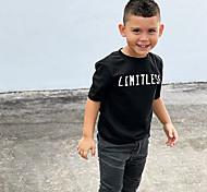 economico -Bambino Da ragazzo T-shirt Manica corta Alfabetico Con stampe Nero Cotone Bambini Top Attivo Essenziale