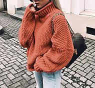 economico -Per donna Vintage Intrecciato Tinta unica Pullover Felpa Manica lunga Maglioni cardigan A collo alto Autunno Inverno Army Green Nero Blu