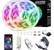 abordables -bandes lumineuses led - 10m rgb bande lumineuse led contrôle d'application pour l'éclairage de la pièce smd 2835 kits de lumières de bande à changement de couleur avec télécommande flexible de