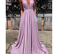 abordables -Trapèze Jolis Dos Sexy Invité de mariage robe ceremonie Robe Col en V Sans Manches Traîne Brosse Pailleté avec Plissé 2021