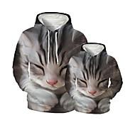 abordables -Regard de la famille Lots de Vêtements pour Famille Sweat à capuche et Sweat Chat Graphique 3D Print Animal Manches Longues Imprimé Gris Actif