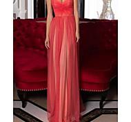 abordables -Fourreau / Colonne Minimaliste Sexy Fiançailles robe ceremonie Robe Coeur Sans Manches Longueur Sol Satin avec Plissé 2021