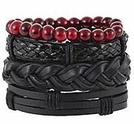 abordables -mélanger 4 bracelets, bracelets manchette poignet tressé réglable à la main, bracelet tête de mort, bracelets en cuir idée cadeau bijoux hommes femmes