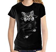 economico -Per donna Gatto 3D maglietta Gatto Pop art 3D Con stampe Rotonda Top 100% cotone Essenziale Top basic Bianco Nero