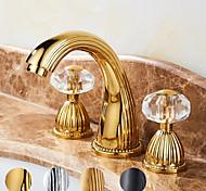economico -Lavandino rubinetto del bagno - Cascata Oro Installazione centrale Due maniglie Tre fori