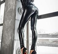 abordables -Femme Elégant basique Mode Chic de Rue Extérieur Quotidien Soirée De plein air Collants Pantalon Couleur Pleine Noir