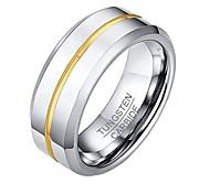 economico -anello da uomo in tungsteno da 8 mm con centro scanalato blu finitura lucida vestibilità comoda oro taglia r