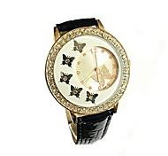 abordables -Mode femmes cristal papillon décoration PU cuir quartz montre dames montres (blanc)