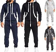 abordables -, survêtement athlétique pour homme - veste zippée à capuche avec poche kangourou - vêtements de sport actifs sweat à capuche couleur pure à manches longues - poches latérales pantalon pour hommes de
