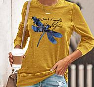 abordables -T-shirt Femme Quotidien Sans Doublure Graphique Texte Manches Longues Imprimé Col Rond Hauts Standard Haut de base basique Noir Jaune Vert