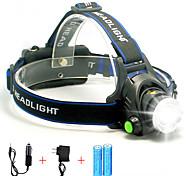abordables -Lampes Frontales Phare Avant de Moto Super brillant 5000 lm LED LED 1 Émetteurs 1 Mode d'Eclairage avec Piles et Chargeurs Super brillant Portable Professionnel Etanche Camping / Randonnée