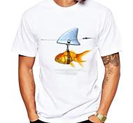 abordables -Homme T-shirt Impression 3D Graphique Poissons Animal Imprimé Manches Courtes Quotidien Hauts Simple Le style mignon Blanche