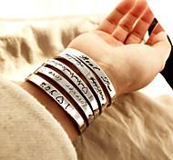 abordables -Bracelet Bracelets Bracelet d'amitié Bracelets en Argent Femme Cœur Forme de Lettres Anniversaire Cœur Elégant simple Punk Tendance Coréen Bracelet Bijoux Argent Rond pour Soirée Cadeau Rendez-vous