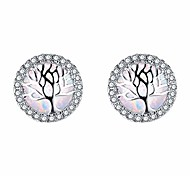 abordables -boucles d'oreilles rondes en argent pour femme avec zircone cubique opale arbre de vie blanc hypoallergénique