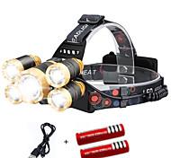 abordables -Lampes Frontales Lumière frontale Phare Avant de Moto 2000 lm LED 5 Émetteurs 4.0 Mode d'Eclairage avec Piles et Câble USB Portable Coupe-vent Cool Transport Facile Etanche Camping / Randonnée