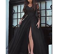 abordables -Trapèze Sexy Fleur Invité de mariage robe ceremonie Robe Col en V Manches Longues Longueur Sol Dentelle Tulle avec Fendue Insert de Dentelle 2021