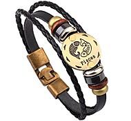 abordables -fait à la main en alliage de peau de vache signe du zodiaque poissons bracelet ornements en cuir pour femmes hommes filles garçons