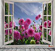 abordables -fenêtre paysage mur tapisserie art décor couverture rideau suspendu maison chambre salon décoration jardin fleur