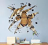 abordables -3D tête de tigre enfants chambre chambre salon décoration de fond peut être enlevé pâte murale
