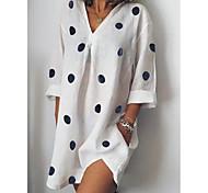 economico -Per donna Vestito a trapezio Mini abito corto Bianco Rosa Grigio Azzurro Manica a 3/4 A pois Con stampe Autunno Primavera A V caldo Elegante 2021 S M L XL XXL 3XL 4XL 5XL