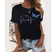 economico -Per donna maglietta Pop art Con cuori Con stampe Rotonda Top 100% cotone Essenziale Top basic Bianco Nero