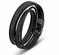 economico -uomini di cuoio del braccialetto nero 34cm scatola regalo in vera pelle di vacchetta intrecciata fibbia magnetica regolabile corda avvolgente multistrato uomo mans maschi maschi ragazzi braccialetti