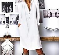 abordables -Femme Robe Chemise Robe Longueur Genou Blanche Jaune Bleu Roi Manches Longues Couleur unie Automne Printemps Col de Chemise Grande occasion 2021 S M L XL XXL 3XL 4XL
