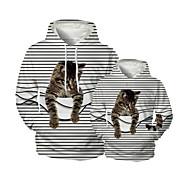 abordables -Regard de la famille Lots de Vêtements pour Famille Sweat à capuche et Sweat Chat Graphique 3D Print Animal Manches Longues Imprimé Blanche Actif