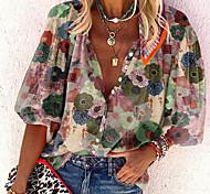 economico -Per donna Blusa Camicia Fantasia floreale Fiore decorativo Manica lunga A V Top Top basic Blu Rosso