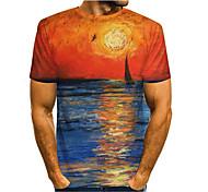 economico -Per uomo maglietta Stampa 3D Pop art 3D Con stampe Manica corta Casuale Top Semplice Classico Blu Viola Giallo