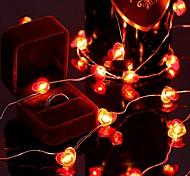abordables -guirlandes en forme de coeur de la saint-valentin 13ft 40led coeur rouge lumières imperméables guirlande lumineuse alimentée par batterie, décoration d'éclairage nocturne romantique pour la saint