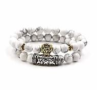 abordables -Naturel lave oeil de tigre perles de pierre bracelet antique or tête de lion bracelet ensemble de haute qualité pulseras hombre pour hommes