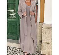abordables -Deux Pièces Trapèze Robe de Mère de Mariée  Echarpe incluse Bijoux Longueur Sol Mousseline de soie Manches Longues avec Appliques 2021