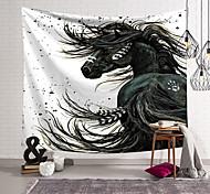 abordables -Tapisserie murale art déco couverture rideau suspendu maison chambre salon dortoir décoration polyester fibre animal cheval noir
