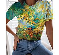 abordables -T-shirt Femme Quotidien Sans Doublure Graphique Feuille 3D Manches Courtes Imprimé Col Rond Hauts Standard Haut de base basique Vert