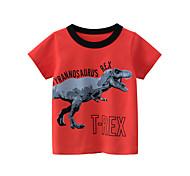 economico -Bambino Da ragazzo maglietta T-shirt Manica corta Dinosauro Nero e rosso Animali Con stampe Bianco Rosso Giallo Cotone Bambini Top Estate Moda città Fantastico