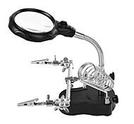 abordables -MG16129-C Aider multifonctionnel main loupe 10X 7.5X 2.5X Avec 5 LED Loupe de bureau pour Réparation Fabrication modèle