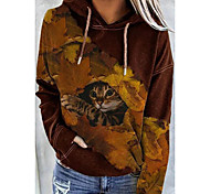 abordables -Femme Sweat-shirt à capuche Chat Graphique 3D Poche avant Imprimé Quotidien Impression 3D basique Simple Pulls Capuche Pulls molletonnés Marron