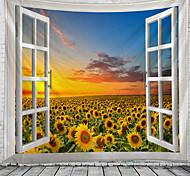 abordables -fenêtre paysage mur tapisserie art décor couverture rideau suspendu maison chambre salon décoration jardin tournesol coucher de soleil pastorale