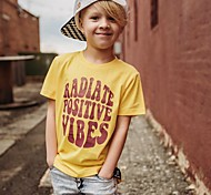 economico -Bambino Da ragazzo maglietta T-shirt Manica corta Alfabetico Con stampe Giallo Cotone Bambini Top Attivo Essenziale