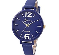 economico -orologio da polso al quarzo analogico casual da donna in ecopelle (blu profondo)