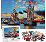 abordables -Puzzle 1000 pièces puzzle épaissi Tower Bridge View Light Puzzle pour adultes et enfants