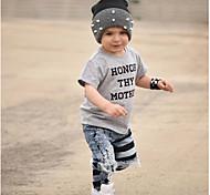 economico -Bambino Da ragazzo maglietta T-shirt Manica corta Alfabetico Con stampe Grigio Cotone Bambini Top Attivo Essenziale