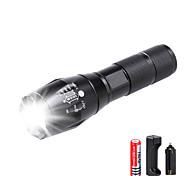 abordables -Lampes Torches LED Imperméable Fonction Zoom 3000 lm LED LED Émetteurs 5 Mode d'Eclairage avec Pile et Chargeur Imperméable Fonction Zoom Rechargeable Faisceau Ajustable Ultra léger Haute Puissance